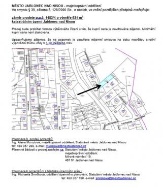 Prodej pozemku 521 m2, Jablonec nad Nisou