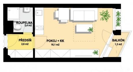Prodej, Byt 1+kk, celkem 36,4 m2, Balkon 1.5 m2, Sklep 1.7 m2, parking 11 m2, Praha Hostivař, Hornoměcholupská