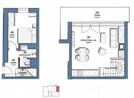 Prodej, Mezonetový byt 2+kk,59,2 m2 , terasa 12 m2, Baranova, Praha Žižkov