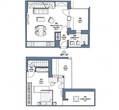 Prodej, Mezonetový byt 2+kk, balkon 7 m2, terasa 6 m2, celkem 82 m2, Baranova, Praha Žižkov