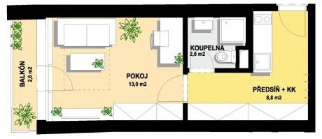 Nebytová jednotka 1+kk, 29 m2, Balkon, Praha Hostivař, Hornoměcholupská