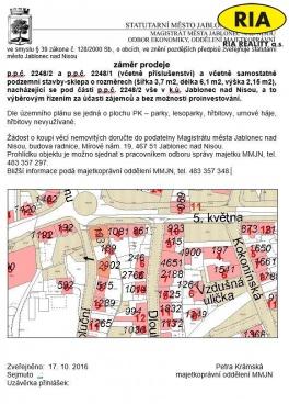 Prodej zahrady se sklepem Revoluční ul., Jablonec nad Nisou