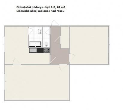 Prodej bytu 2+1, 61 m2, Liberecká ul., Jablonec n. N.