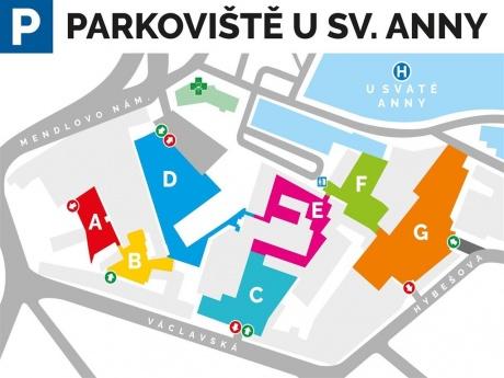 Pronájem nekrytého parkovacího stání v centru Brna
